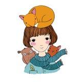 Belle jeune fille avec des cheveux courts, un renard, un chat et un hibou Images libres de droits