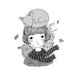 Belle jeune fille avec des cheveux courts, un renard, un chat et un hibou illustration libre de droits