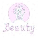 Belle jeune fille avec la beauté d'inscription Vecteur Illustratio Photographie stock libre de droits