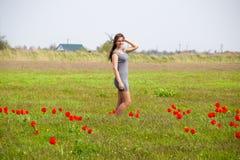 Belle jeune fille féerique dans un domaine parmi les fleurs de la tulipe Images libres de droits