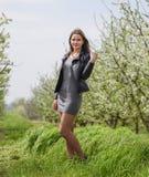 Belle jeune fille féerique dans un jardin fleurissant de prune Portrait d'une fille sur un fond de fleurs blanches Image libre de droits