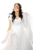 Belle jeune jeune mariée avec le masque de Venise. Images stock