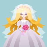 Belle jeune mariée d'anime Image libre de droits