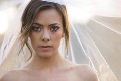 Belle jeune mariée dans l'environnement extérieur naturel photographie stock