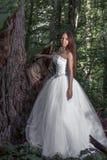 Belle jeune mariée dans une forêt dense 1 image stock