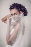 Belle jeune mariée de brune tenant le voile au-dessus de son visage de sourire Photographie stock