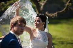 Belle jeune mariée de brune tenant son voile contre le soleil Image libre de droits