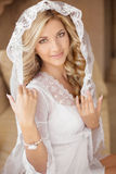 Belle jeune mariée de sourire dans la robe nuptiale de voile et de mariage beauté photo libre de droits