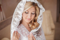 Belle jeune mariée de sourire dans le voile de mariage Verticale de beauté heureux Photos libres de droits