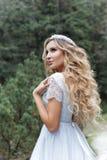 Belle jeune mariée douce de fille dans la robe de mariage bleue féerique d'air avec les boucles luxueuses dans les montagnes près Photographie stock libre de droits