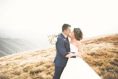 Belle jeune mariée magnifique posant pour se toiletter et ayant l'amusement, cérémonie de luxe aux montagnes avec la vue étonnant images libres de droits