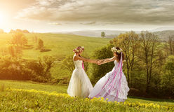 2 belle jeune mariée pendant le matin, le pré idyllique, symbole d'amitié Photo libre de droits