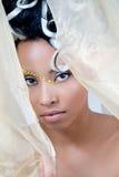 Belle jeune mariée regardant par le voile image libre de droits