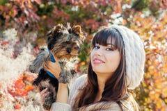Belle jeune participation heureuse de femme un chien Photo stock