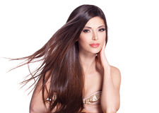 Belle jolie femme blanche avec de longs cheveux droits Photo libre de droits