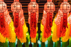 Belle lanterne internationale illuminting dans la nuit Photo libre de droits