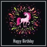 belle licorne rose Image libre de droits
