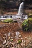 Belle longue cascade d'exposition de Scheidegg, Bavière Allemagne photos libres de droits