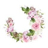 Belle, lumineuse guirlande d'aquarelle avec des roses, pivoine et baie Images stock