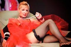 Belle Madame dans des fishnets Photographie stock libre de droits