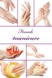 Belle main avec la manucure française parfaite