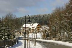 Belle maison en environnements de l'hiver photo stock