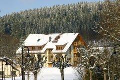 Belle maison en environnements de l'hiver image libre de droits