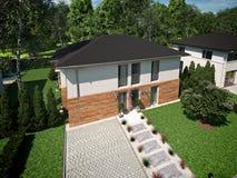 Belle maison moderne rendu 3d Image stock