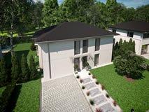 Belle maison moderne rendu 3d Images stock