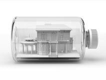 Belle maison victorienne, à l'intérieur d'une bouteille, sur le fond blanc. Photographie stock libre de droits