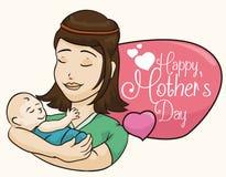 Belle maman portant dans des bras son bébé dans le jour de mère, illustration de vecteur Photos stock