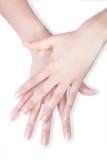 Belle mani attraversate con il manicure Immagine Stock Libera da Diritti