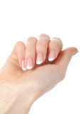 Belle mani con il manicure francese del chiodo perfetto immagini stock