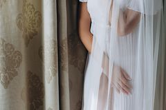 Belle mani eleganti della sposa sotto il velo fotografia stock