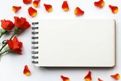 Belle maquette de roses pour des présentations Vue supérieure de lieu de travail de bureau Image stock