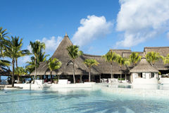 Belle Mare, Mauritius  - June 26, 2015: The LUX Belle Mare hotel pool area, Mauritius, 2015 Royalty Free Stock Photos