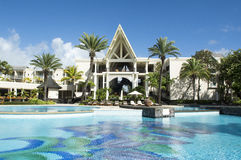Belle Mare, Mauritius  - June 26, 2015: The Residence hotel pool area, Mauritius, 2015 Royalty Free Stock Photography