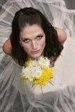 Belle mariée avec le bouquet Photographie stock libre de droits