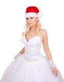 Belle mariée avec le chapeau de Santa d'isolement sur le blanc Images libres de droits