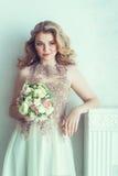Belle mariée dans la robe de mariage Photographie stock