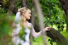 Belle mariée dans la robe de mariage en stationnement Images libres de droits