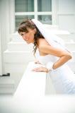 Belle mariée de sourire avec un voile Photographie stock libre de droits