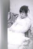 Belle mariée triste, attendant Images libres de droits