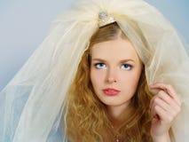Belle mariée avec le grand voile sur une tête Image libre de droits