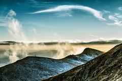 Belle montagne con la vista all'orizzonte Fotografie Stock Libere da Diritti