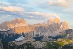Belle montagne delle alpi, dolomia al tramonto Immagine Stock Libera da Diritti