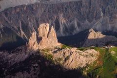 Belle montagne delle alpi, dolomia al tramonto Fotografia Stock