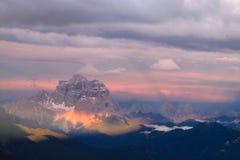 Belle montagne delle alpi, le dolomia al tramonto Immagini Stock Libere da Diritti