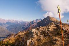 Belle montagne di Caucaso occidentali in autunno Immagini Stock