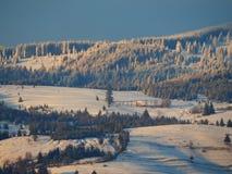 Belle montagne nevose con una piccola casa fotografia stock